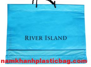 HDPE drawstring plastic bag with cotton handle square bottom