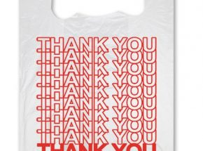 Plastic thank you vest carrier bag